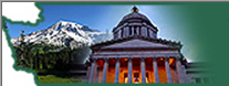 the washington state house against mt. ranier within the shape of the state of washington.