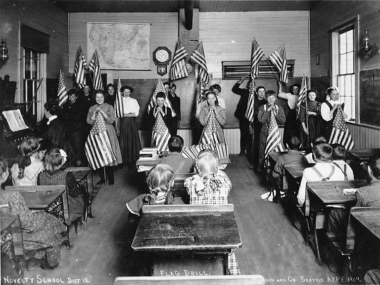 Flag drill in a King County classroom, 1909.