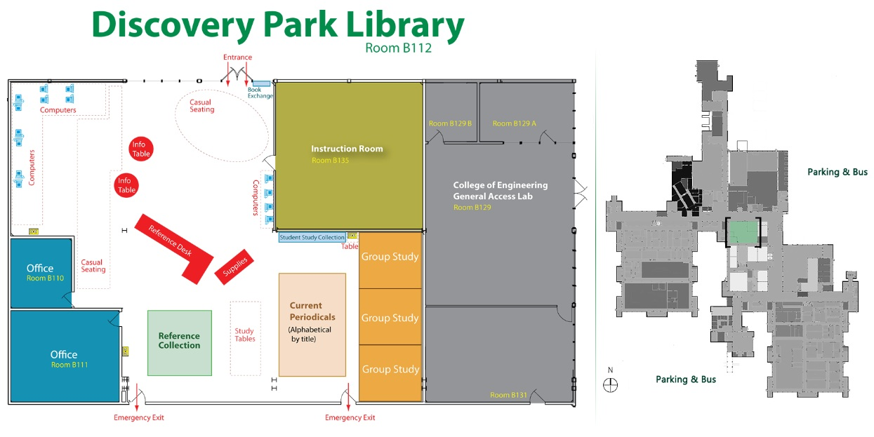 Floor map highlighting the location of Discovery park library
