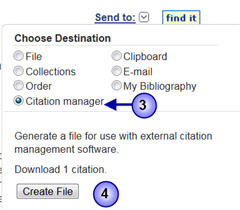 Screenshot of how to export references to Endnote Basic from PubMed.