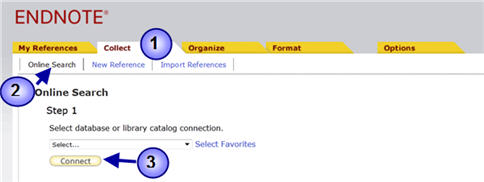 Screenshot of how to search external databases through Endnote Basic.
