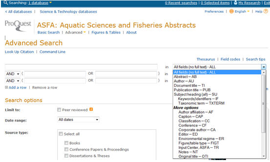 Screen shot of the Advanced Search function in ASFA.