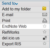 Screenshot how to send references to Endnote Web/Basic