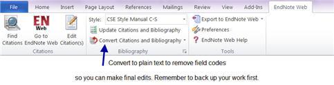 Screenshot of Word Toolbar displaying EndNote Basic.