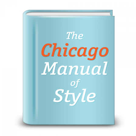 Chicago manual of style in white & orange on a blue book cover.