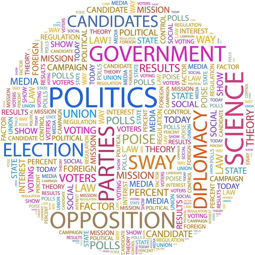 Round collage of words involving the government: candidates, politics, media, campaign, etc.