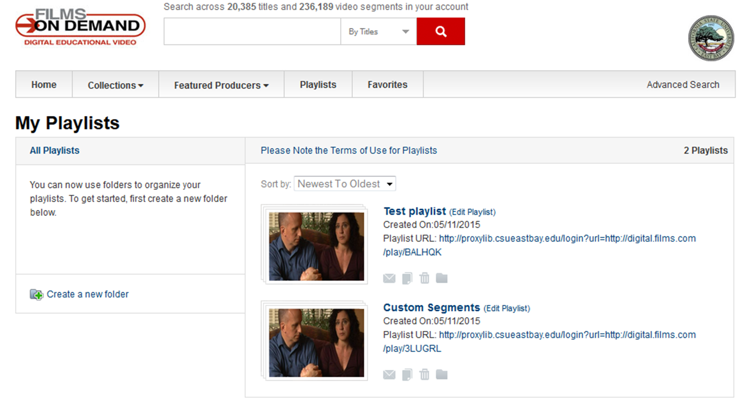 Screenshot of Playlist interface