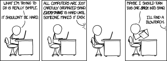 "xkcd comic ""Shouldn't Be Hard"""