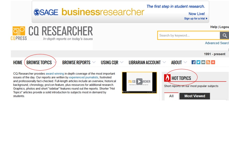 On CQ Researcher home page, you can click on Browse Topics and Hot Topics to help you choose a topic