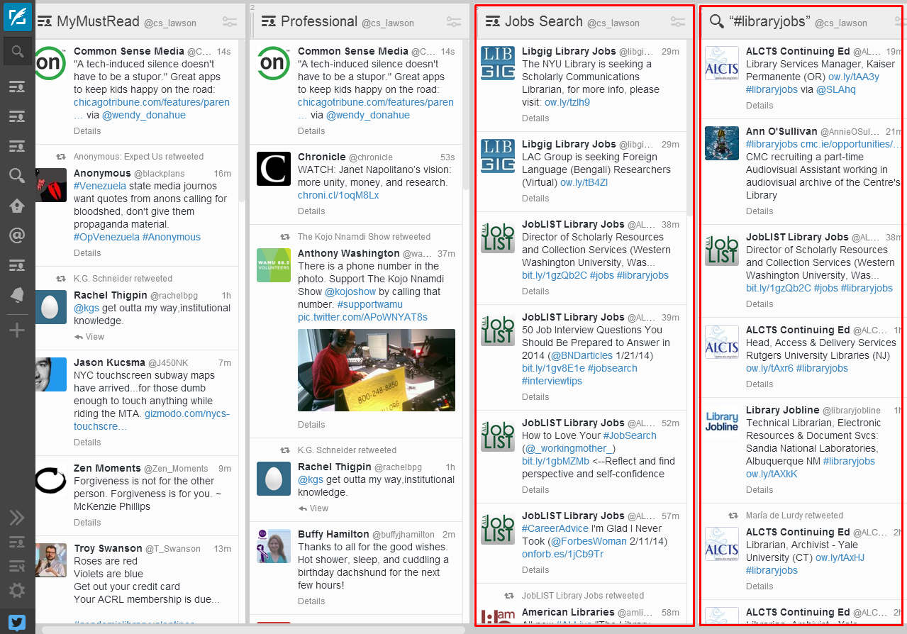 example of how to use lists in Tweetdeck to find jobs
