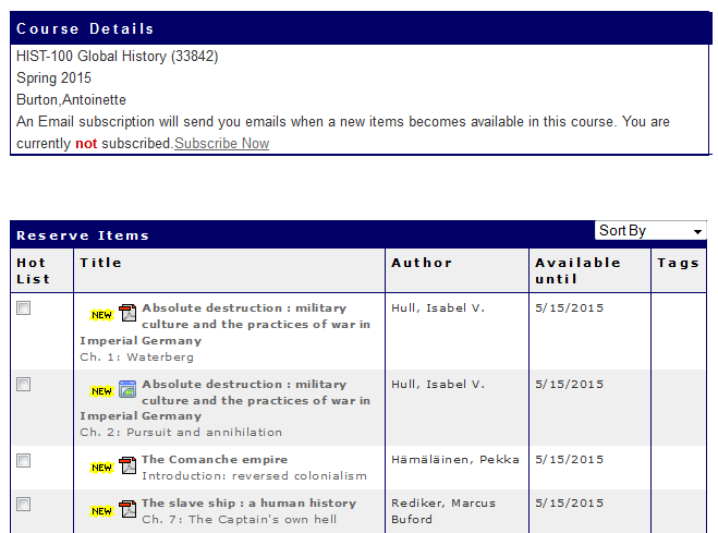 Student View - List of Courses