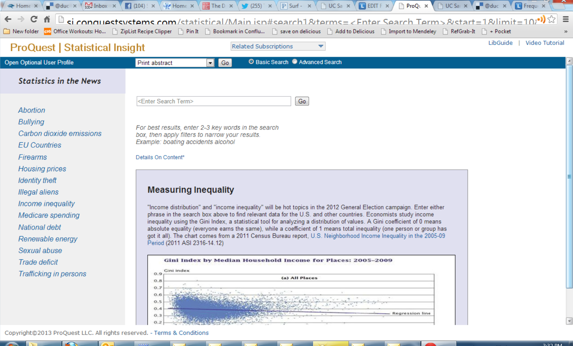 Proquest Statistical screenshot