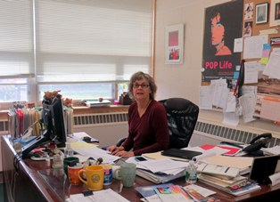 Library Director Connie Holberg hard at work
