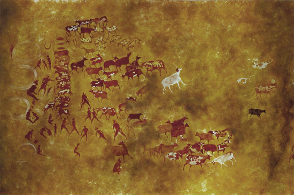Rock painting of a pastoral scene from Tassili N'Ajjer, Algeria,