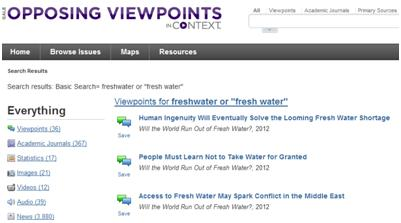Opposing Viewpoints search results
