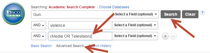 Screenshot of Using AND in an Academic Search Complete Keyword Search