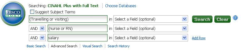 Screenshot of CINAHL search box