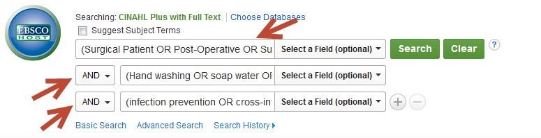 Screenshot of CINHAL search strategy in search box