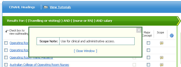 Screenshot CINAHL Headings definition example