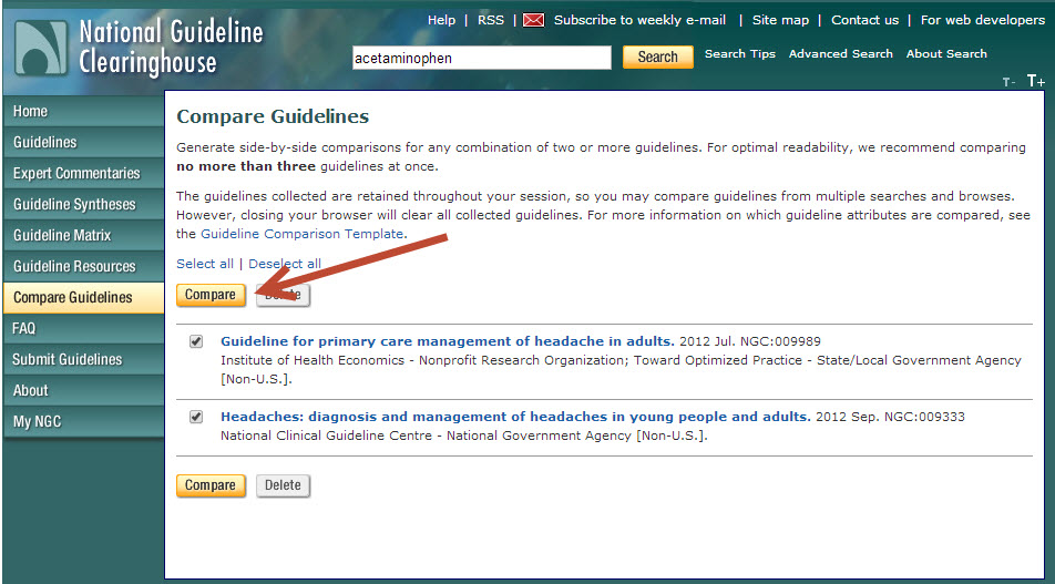 "Screeshot of National Guideline Clearinghouse ""Compare Guidelines"" Page"