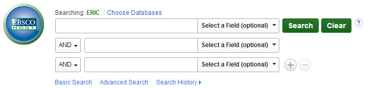 Screenshot of ERIC database searchbox