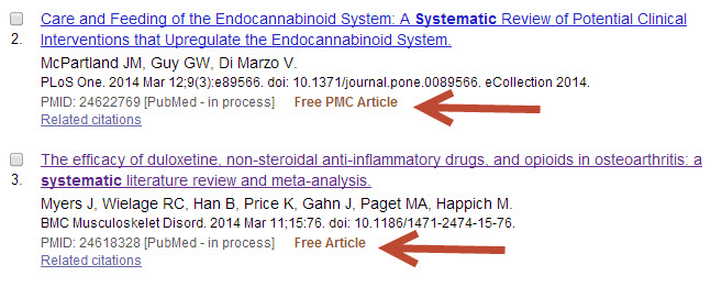 Screenshot of PubMed results