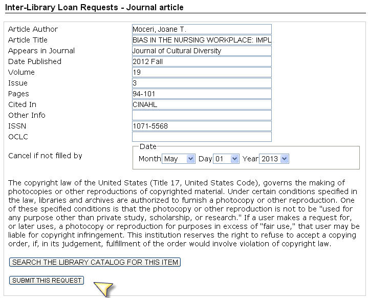 Screenshot interlibrary loan request form