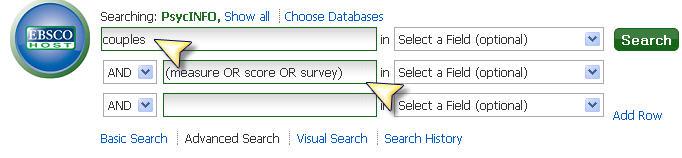 Screenshot PsycINFO searchbox