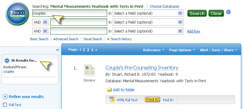 Screenshot Mental Measurements Yearbooks with test in print searchbox