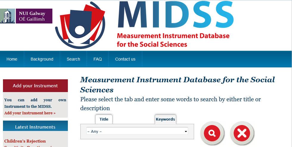 Screenshot of Measurement Instrument Database website