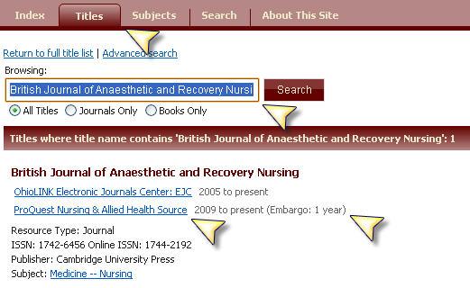 Screenshot of Journal showing embargo