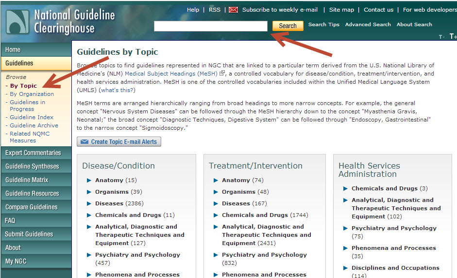 Screenshot of National Guide Clearinghouse Home Page