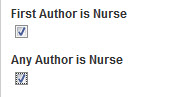 Image showing check box for Nurse as first author or any author