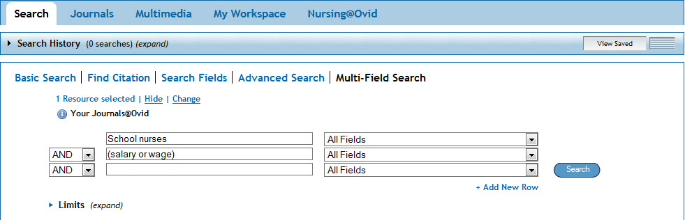 Example Nursing@OVID search box