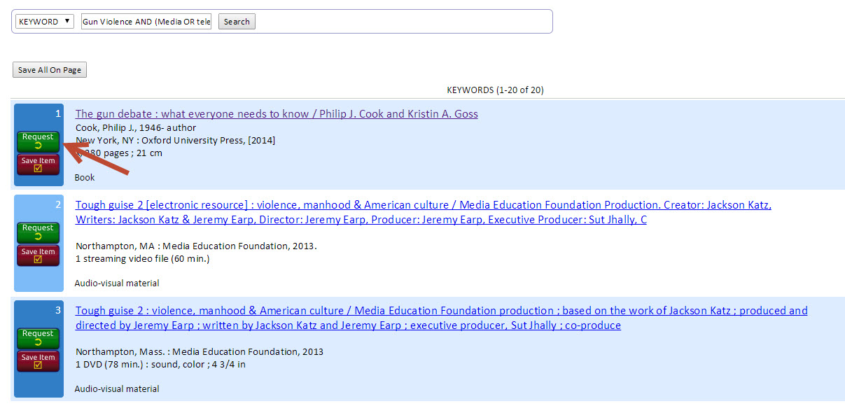 Result List of a Keyword Search in OhioLINK Library Catalog