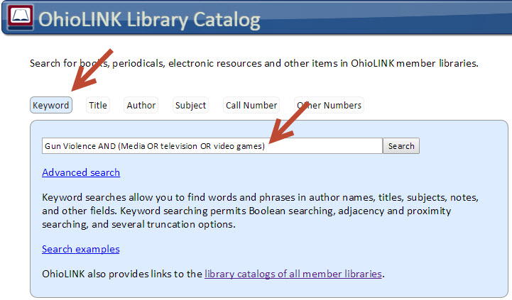 Screenshot of a Keyword Search in OhioLINK Library Catalog