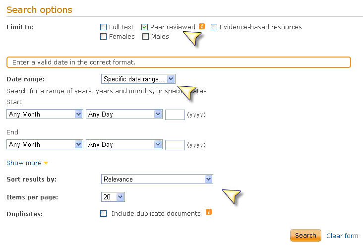 Screenshot of search options in Proquest
