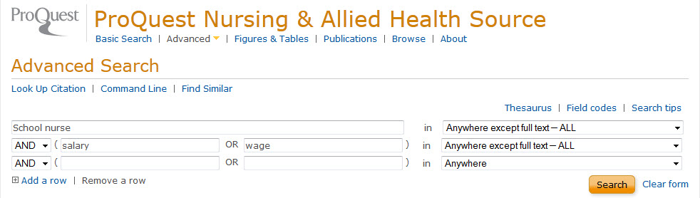 Example Proquest nursing  & allied health source search