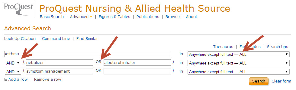 Example of searching Proquest Nursing searchbox