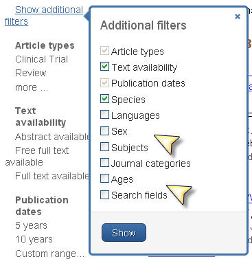 Screenshot additional filters box