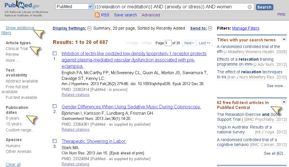 Screenshot od PubMed results page