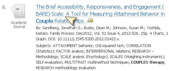 Screenshot journal article result