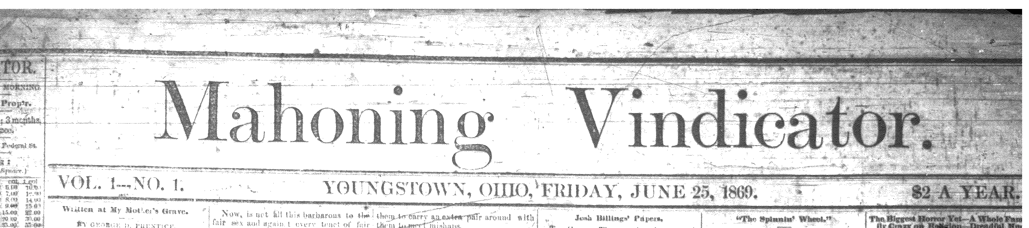 first vindicator issue 1869