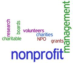 A Word-cloud of words related to nonprofits