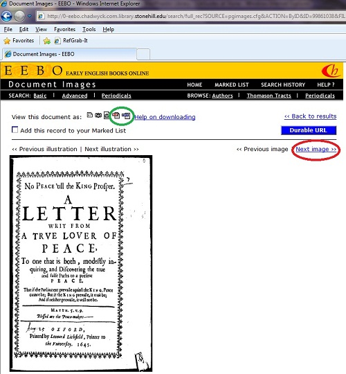 Use the page arrows to navigate to the desired page and then download using the PDF or TIFF icon.