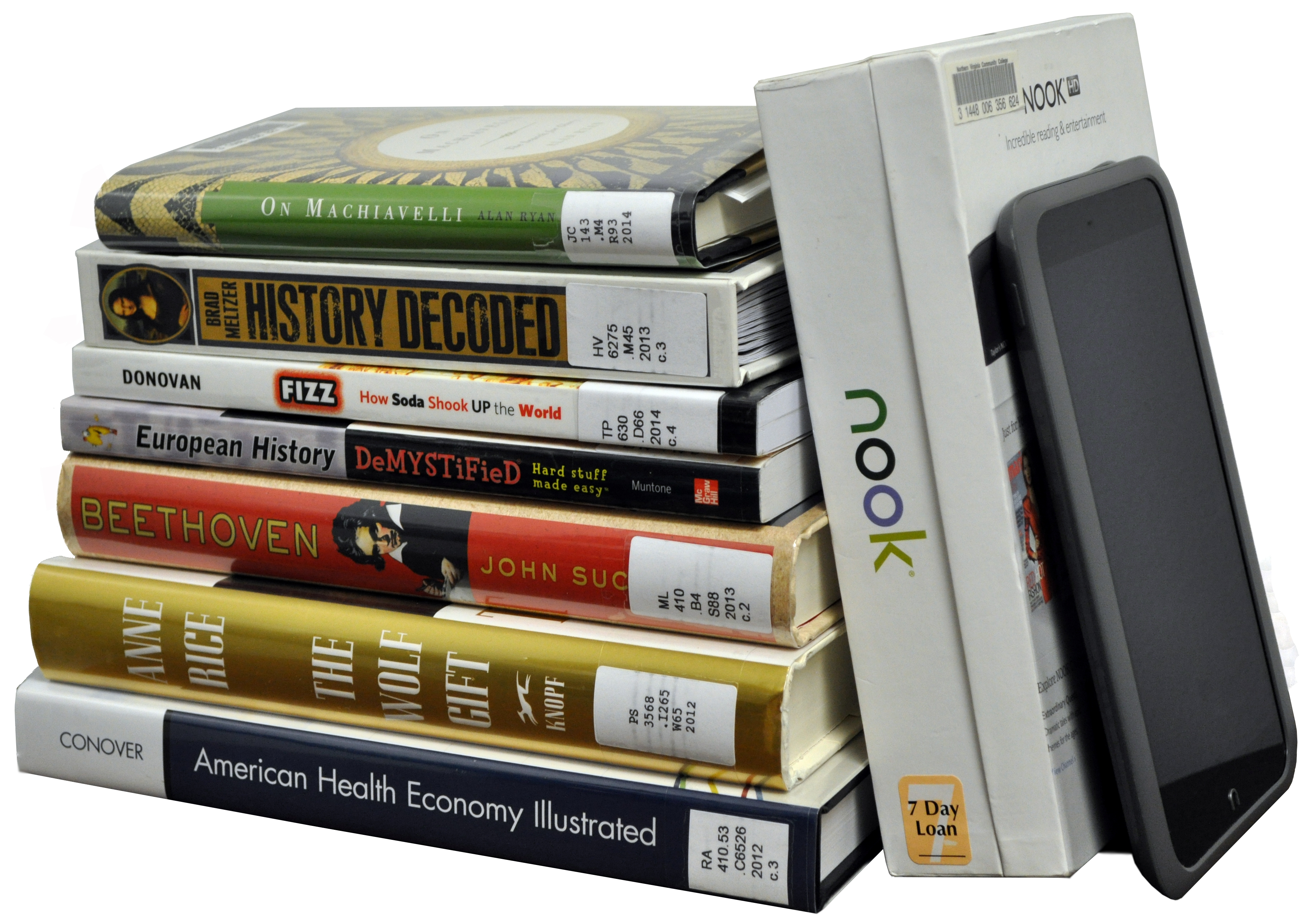 Image of books and e-reader