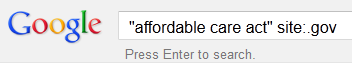 google search bar with affordable care act site:.gov
