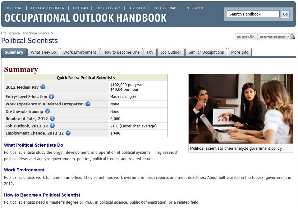 Screenshot of OOH webpage