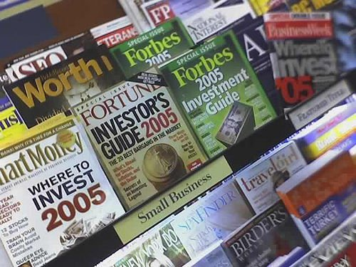 Rack of Financial Magazines