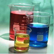 Picture of science beakers with liquid